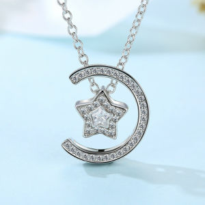 2017 Hot Sale Clear CZ Moon and Start for Girls Brass Necklace pictures & photos
