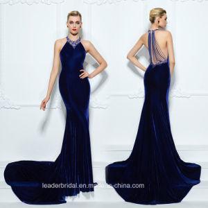Royal Blue Prom Party Dress A-Line Velvet Evening Dresses Z5019 pictures & photos
