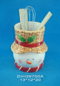 Hand-Painted Ceramic Utensil Holder with Santa Design pictures & photos