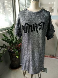 Women′s Shiny Letter Breathable T-Shirt pictures & photos