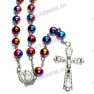 Colourful Glass Beaded Chain Rosary Necklace
