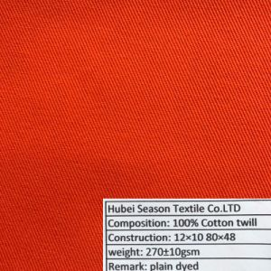 Cotton 12*10 80*48 270GSM Twill Woven Cotton Fabric for Workwear Clothing pictures & photos