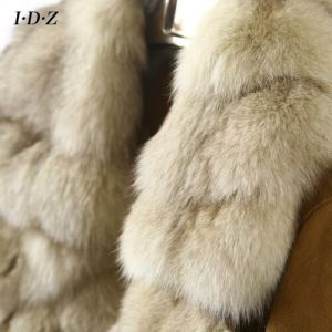 2016 Factory Wholesale Shearing Leather and Fur Coat Women Fox Fur Jacket pictures & photos