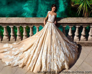 Cap Sleeves Wedding Gowns Customized Champagne Lace Wedding Dress G17809 pictures & photos