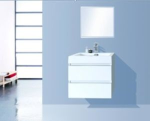 PVC-Glossy White Bathroom Cabinet with Basin