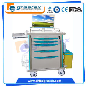 Wireless Nursing Computer Table Trolley, Computer Workstation Cart (GT-ENT01) pictures & photos