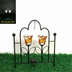 Fantastic Mosaic Transparent Flower Solar Light Garden Metal Fence Craft pictures & photos