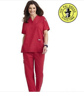 Doctors Red Scrub Suits Hospital Cotton Short Sleeve Sets pictures & photos
