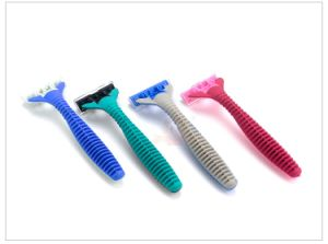 Rubber Handle Shaving Disposable Triple Blade Medical Razor for Women pictures & photos