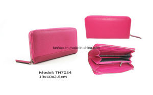Fuchsia Women Saffiano Sleek PU Leather Zip Around Gusset Wallet pictures & photos