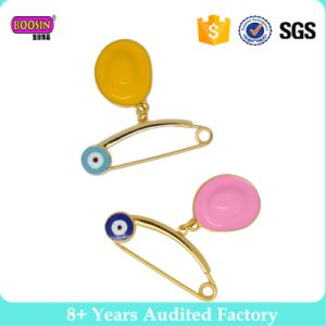 Evil Eyes Lovly Round Enamle Gold safety Pins with Charms pictures & photos