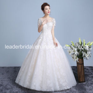 Lace Bridal Gowns Short Sleeves Beading Wedding Dresses Z613 pictures & photos