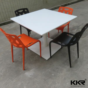 Kkr Glossy Table Artificial Stone Square Restaurant Dining Table pictures & photos