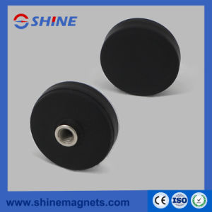 NdFeB Rubber Covered Round Base Magnet with Thread Hole pictures & photos