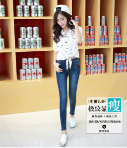 2017 Lady′ S Skinny Fit High Quality Washed Cotton Stretchable Jeans pictures & photos
