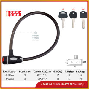 Jq8226 Two Colors Durable Safety Steel Cable Lock Bicycle Lock pictures & photos