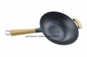 No Fumes Wok Whole Wood Handle Wok Cast Iron Cookware pictures & photos