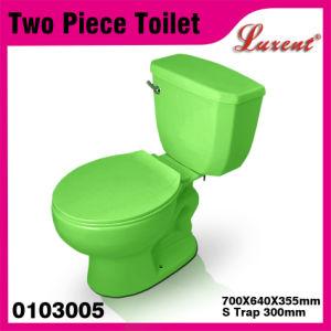 Ceramic Dual Flushing Single Flushing Cistern Light Green Two Piece Toilet