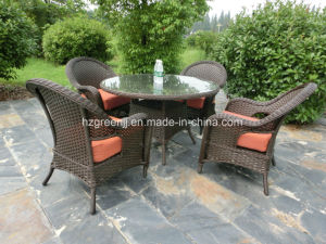 5 Pieces Round Rattan Conversation Dining Set Wicker Furniture pictures & photos