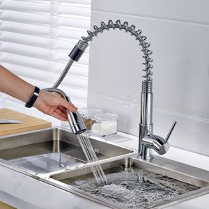 Spring Pull Down Single Handle Kitchen Sink Faucet Dual Function pictures & photos