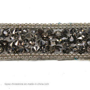 Beaded Rhinestones Trim Chain Iron on Hotfix Crystal Reel Chain (TS-053 black diamond) pictures & photos