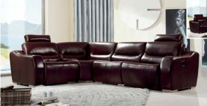 Living Room Sofa Large Corner Sectional Recliner Leather Sofa for Home Furniture pictures & photos
