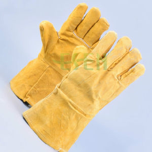 Split Cowhide Leather Gloves / Heavy Duty Safety Gloves for Construction pictures & photos
