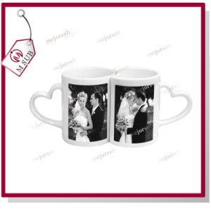 11oz Sublimation Printing Twin Mug with Heart Handle for Couple pictures & photos