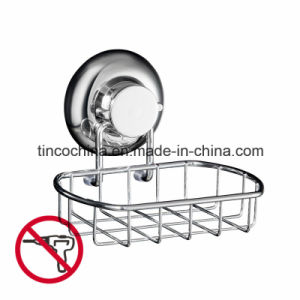 Household Accessories, Super Powerful Vacuum Suction Soap Dish, Strong Stainless Steel Sponge Holder for Bathroom and Kitchen, Chrome Plate