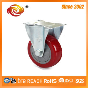 3 Inch Red PU Fixed Medium Duty Caster Wheel