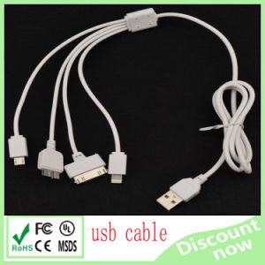 4 in 1 USB Cable for iPhone6 Sangsung White 80cm pictures & photos