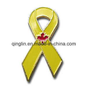 Customize Full Color Printing Yellow Ribbon Shape Metal Badge pictures & photos
