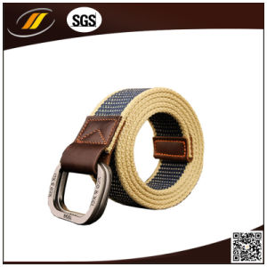 Double Ring Buckle Outdoor Man Waistband Handmade Waist Canvas Leather Belt (HJ15098)