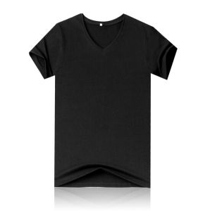 Popular Custom Made Fashion Cotton Rib V Neck Man′s T-Shirt pictures & photos