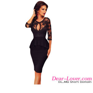 Fashion Three Quarters Sleeve Black Peplum Dress pictures & photos