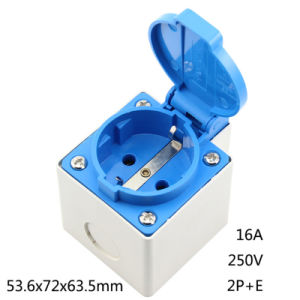 European 2p+E 16A 250V IP44 EU Power Surface Mounted Receptacle German Waterproof Industry Socket Germany Cable Outlet pictures & photos