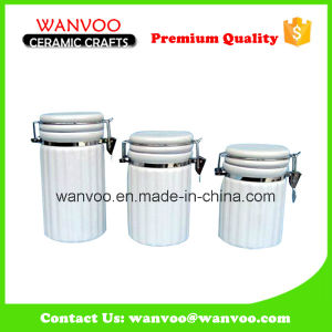 3 PCS Ceramic Canister Cookie Candy Jar with Lid pictures & photos