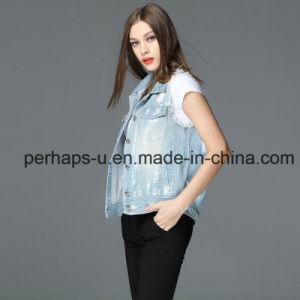 Ladies Clothes Retro Leisure Denim Jacket with Sleeveless pictures & photos