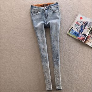P1129 Winter Beaded Ladies Thicken Fleece Denim Jeans pictures & photos