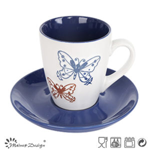7oz Cup and Saucer Two Tone Glaze Shinny Color Design pictures & photos
