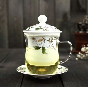 Borosilicate Glass Tea Cup with Ceramic Infuser Glass Tea Cup Gifts pictures & photos