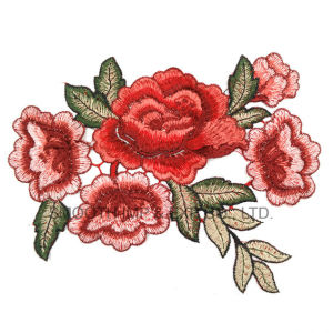 Fashion Flower Red Rose Applique Embroidery Patches Clothes Decorated Sewing pictures & photos