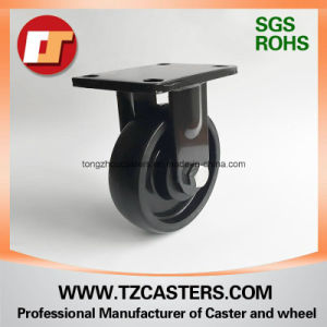 Spray-Paint Black Fixed Caster with Cast Iron Wheel pictures & photos
