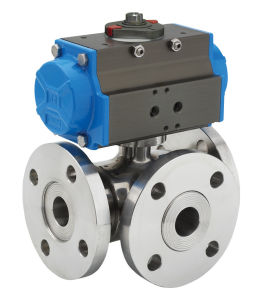 Three Way PVC Pneumatic Ball Valve pictures & photos