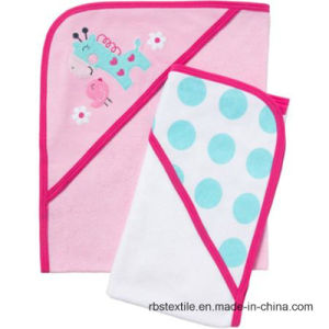 Baby Hooded Towel Set with Embroidery Design pictures & photos