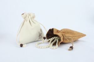Small Linen Drawstring Jewellery Gift Pouch with Velvet Backing pictures & photos
