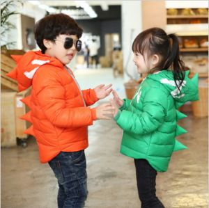 C1285 Kids Down Coat Short Hooded Dinosaur Thick Cotton Padded Jacket pictures & photos