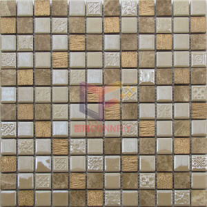 Luxury Golden Resin with Natural Marble Mosaic Tile (CS242) pictures & photos