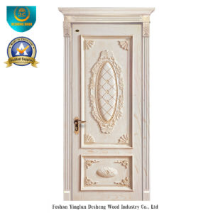 European Style Wood Door with Carving (white color) pictures & photos