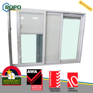 Sound Proof UPVC/PVC Plastic 3-Track Sliding Glass Door with Blinds pictures & photos
